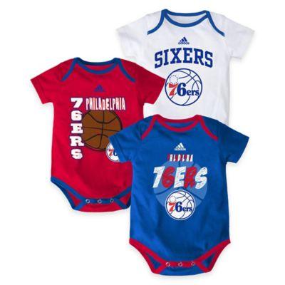 "NBA Philadelphia 76ers ""3 Point Spread"" Size 0-3M Bodysuit Set (Set of 3)"