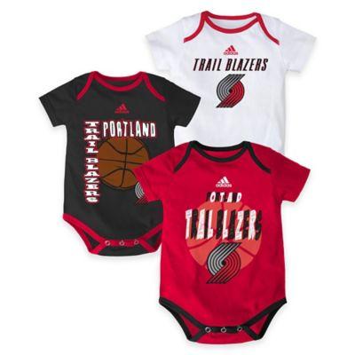"""NBA Portland Trailblazers """"3 Point Spread"""" Size 0-3M Bodysuit Set (Set of 3)"""
