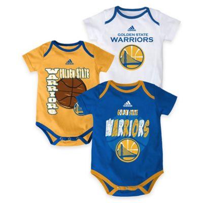"NBA Golden State Warriors ""3 Point Spread"" Size 0-3M Bodysuit Set (Set of 3)"