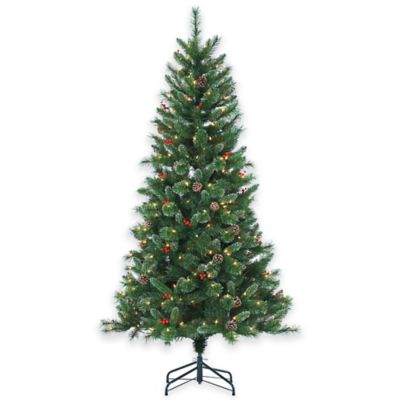 Briarwood Pine 6.5-Foot Pre-Lit Christmas Tree with Pinecones, Berries, and Clear Lights