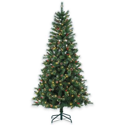 Briarwood Pine 7.5-Foot Pre-Lit Christmas Tree with Pinecones, Berries, and Clear Lights