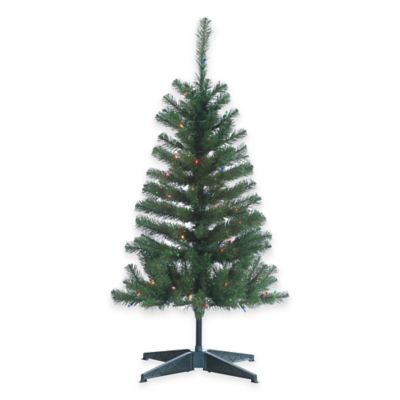 Cumberland Pine 4-Foot Pre-Lit Christmas Tree with Multi-Color Lights