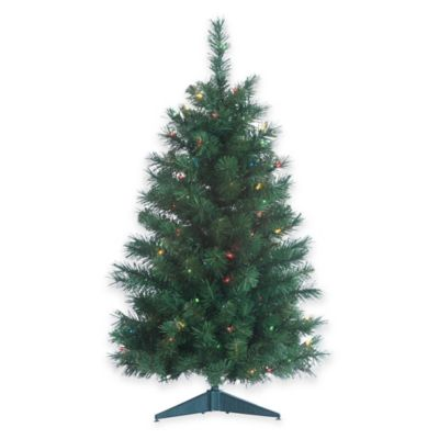 Colorado Spruce 3-Foot Pre-Lit Christmas Tree with Multi-Color Lights
