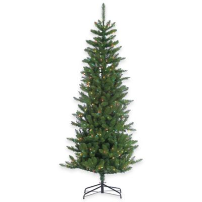 Augusta Pine 7-Foot Pre-Lit Narrow Christmas Tree with Multi-Color Lights