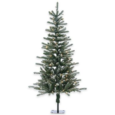Bridgeport Pine 5-Foot Pre-Lit Lightly Flocked Christmas Tree with Clear Lights