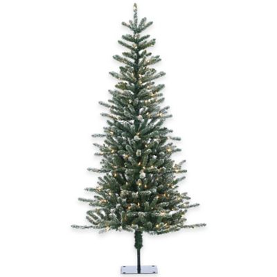 Bridgeport Pine 6-Foot Pre-Lit Lightly Flocked Christmas Tree with Clear Lights
