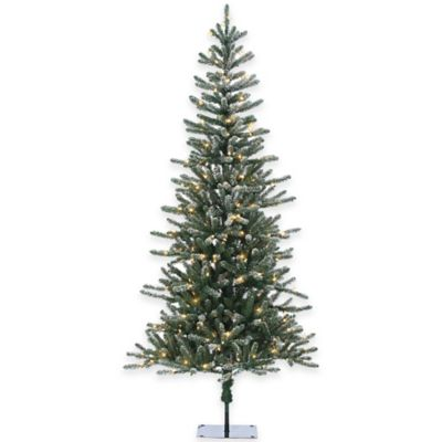 Bridgeport Pine 7-Foot Pre-Lit Lightly Flocked Christmas Tree with Clear Lights