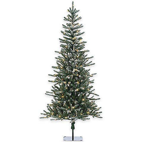 pine 7 foot pre lit lightly flocked christmas tree with clear lights. Black Bedroom Furniture Sets. Home Design Ideas