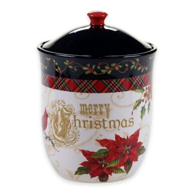Certified International Poinsettia Biscuit Jar