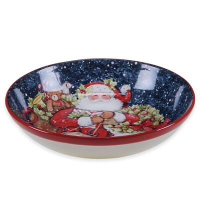 Certified International Snowy Night Santa Serving/Pasta Bowl
