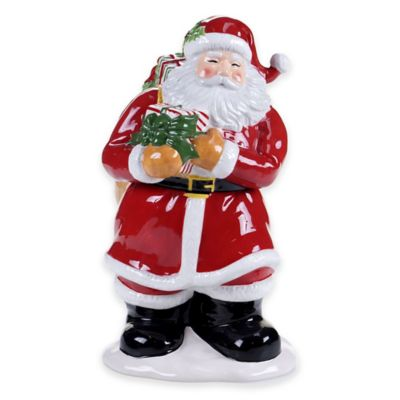 Certified International Snowy Night Santa 3D Santa Cookie Jar