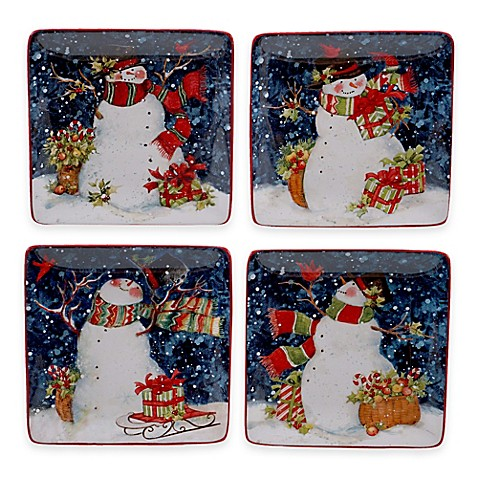 Buy certified international snowy night snowman 4 piece for Canape plate sets