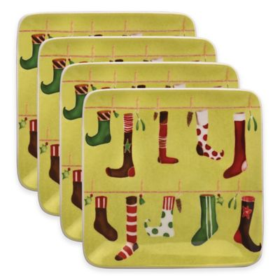 Boston International Crazy Christmas Stocking Square Plates (Set of 4)