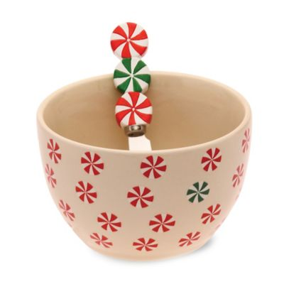 Boston International Holiday Peppermint Bowl and Spreader Set