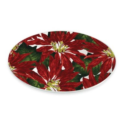 Boston International Poinsettia Oval Serving Plate