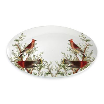 Boston International Cedar Cardinal Oval Serving Plate
