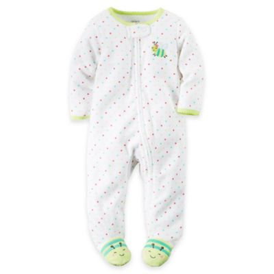 carter's Newborn Dot Bug Zip-Top Terry Footie in White/Green