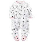 carter's® Size 6M Zip-Front Terry Flamingo Footie in White/Pink