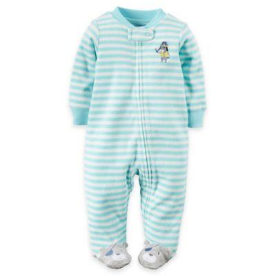 carter's Newborn Zip-Front Pirate Dog Striped Terry Footie in Aqua/White