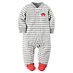Carter's® Size 9M Zip-Front Striped Crab Footie in Pink Dot Grey/Red
