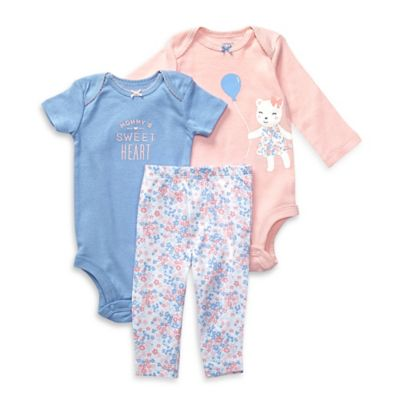 "carter's® Newborn 3-Piece ""Mommy's Sweetheart"" Bear Bodysuit and Pant Set in Pink/Blue"