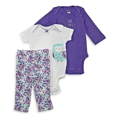 """carter's Size 3M 3-Piece """"So Loved"""" Owl Bodysuit and Pant Set in Purple/White"""
