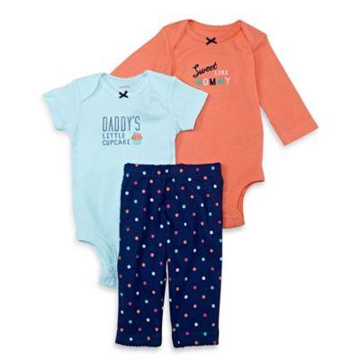 carter's® Size 6M 3-Piece Cupcake Bodysuit and Pant Set in Orange/Blue