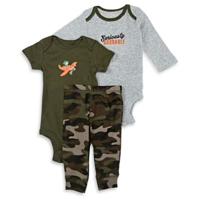 "carter's® Size 6M 3-Piece ""Seriously Adorable"" Monkey Bodysuit and Pant Set in Grey/Olive/Camo"