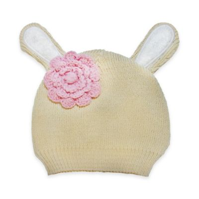 So'Dorable Flower-Accent Bunny Ear Sweater Knit Hat in Tan
