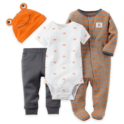 carter's® Preemie 4-Piece Crab Bodysuit, Footie, Pant, and Hat Set in Orange/Grey