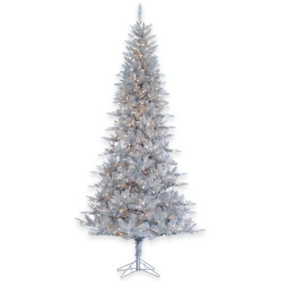 Tiffany Tinsel 9-Foot Pre-Lit Christmas Tree in Silver with Clear Lights