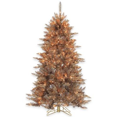 Frasier Fir 5-Foot Layered Copper and Silver Pre-Lit Christmas Tree with Clear Lights