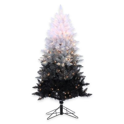 5-Foot Vintage Black Ombre Spruce Pre-Lit Christmas Tree with Clear Lights