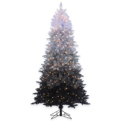 7-Foot 6-Inch Vintage Black Ombre Spruce Pre-Lit Christmas Tree with Clear Lights