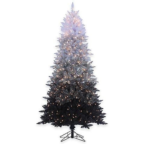 7 Foot 6 Inch Vintage Black Ombre Spruce Pre Lit Christmas