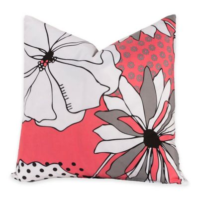 Crayola® Flower Patch 20-Inch Square Throw Pillow in Pink/Grey