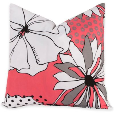 Crayola® Flower Patch European Pillow Sham in Pink/Grey