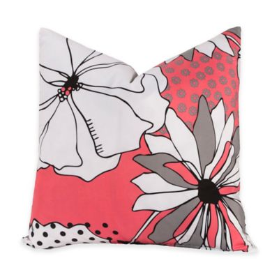 Crayola® Flower Patch 18-Inch Square Throw Pillow in Pink/Grey