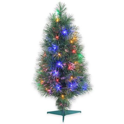 Fiber Optic 3-Foot Pre-Lit Christmas Tree with Multi-Color Lights