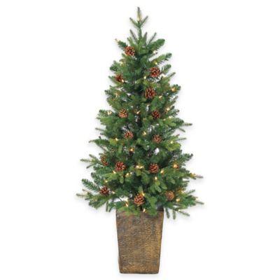 Georgia Pine 4-Foot Pre-Lit Potted Christmas Tree with Pinecones and Clear Lights