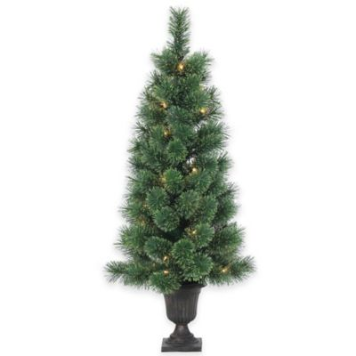 Deluxe Cashmere Pine 3-1/2-Foot Pre-Lit Potted Christmas Tree with Decorative Urn and Clear Lights