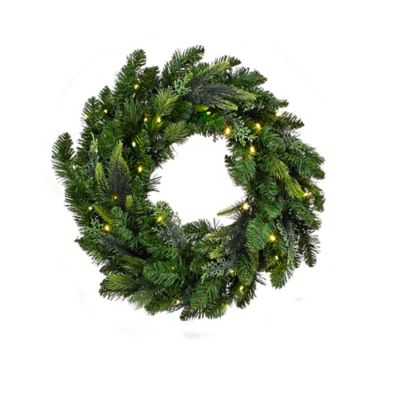 24-Inch Aspen Pre-Lit Wreath