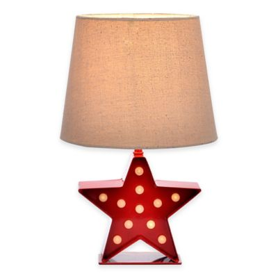 Star Marquee Accent Lamp in Red with Linen Shade