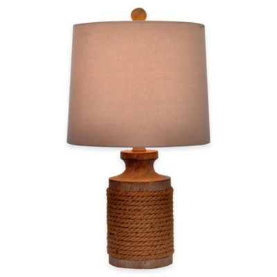 Nautical Rope Distressed Wood Accent Lamp with Linen Shade