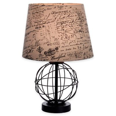 Globe Accent Lamp in Black with Tan Script Shade