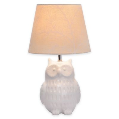 Owl Accent Lamp in White with Linen Shade