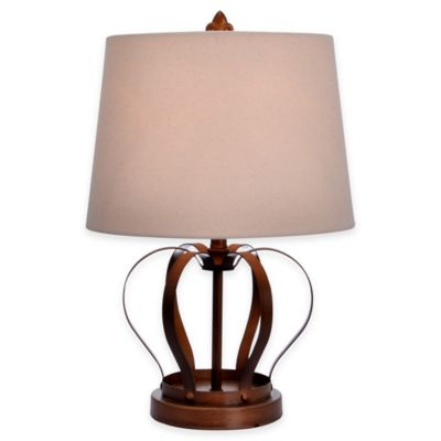 Crown Accent Lamp in Antique Golden Brass with Linen Drum Shade