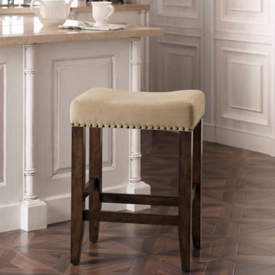 Grayson 25.5-Inch Counter Stool with Nail Head Detailing in Coffee/Walnut