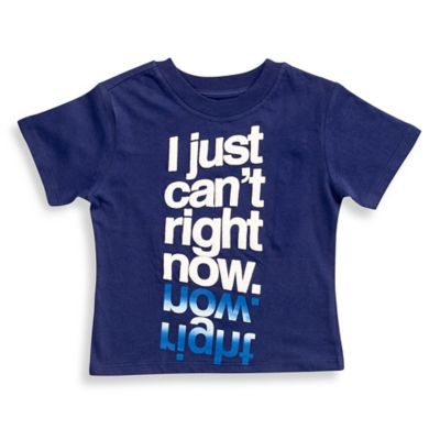 "FREEZE Size 2T ""I Just Can't Right Now"" Short-Sleeve Shirt in Navy"