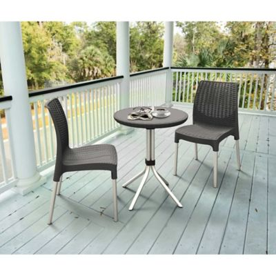 Keter® Chelsea 3-Piece Rattan Patio Bistro Set in Dark Grey
